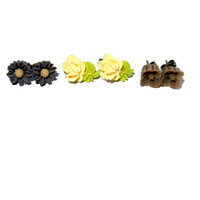 Set of 3 Resin Flower Stud Earrings, Yellow, Brown, Daisy, Rose