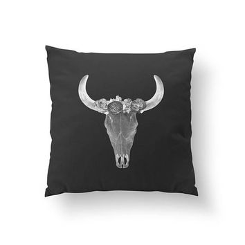 Bull Skull Black Pillow, Animal Pillow, Boho Desert, Decorative Pillow, Hippie Art, Black And White, Throw Pillow, Home Decor, Cushion Cover