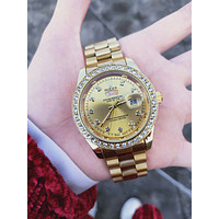 Rolex Tide brand men's and women's diamond-studded waterproof quartz watch Gold