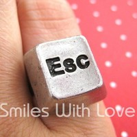 Esc Keyboard Button Ring - Adjustable in Silver