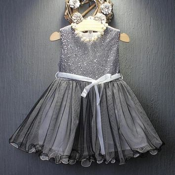 2017 Toddler Kids Baby Girls Princess Dress Party Wedding Pageant Tulle Tutu Dresses Elegant Costume for Girls 1~7 Years Old