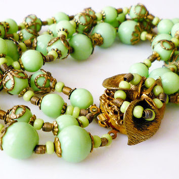 Miriam Haskell Bracelet Mint Green Glass Beads Multi Strand Flower Clasp Vintage Jewelry