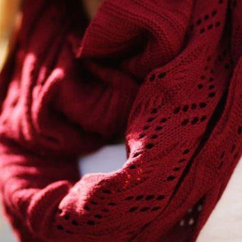 New Lightweight Knitted Infinity Scarf in Several Colors Mustard Navy Burgundy Gray Cream Loop Eternity Cable Weave