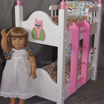 Doll Bunk Bed fits American Girl Doll and 18 inch dolls with Too Cute Owls on a Branch Bedding