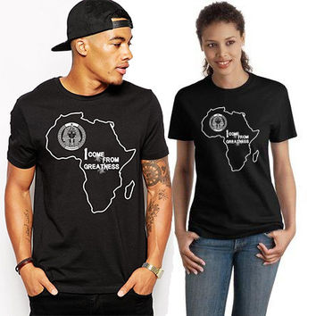 """Africa Tshirt """"I come frome Greatness""""..present for him,,gift for her"""