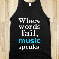 Music Speaks-Unisex Black Tank