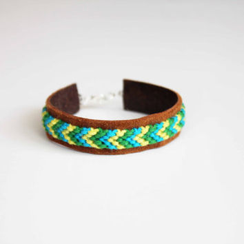 Friendship Bracelet Mini Cuff Brown Leather Green Blue by AllBeta