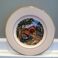 "Vintage collector plate for ""The Hammond Bridge"", a covered bridge near Winterset, Iowa"