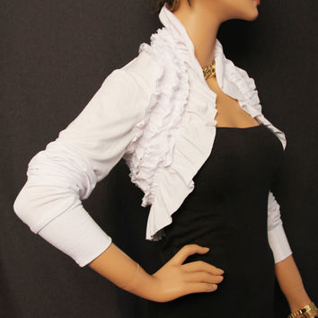 White Ruffles Shrug Borero Bridal Jacket wedding bolero shrug RS3-WT