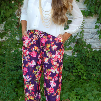 French Floral Pants