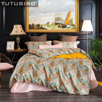 100% Egyptian cotton Bohomian linen spread bedding set orange leaf floral print bedclothes duvet cover queen king size