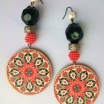 Beaded Dangle Earrings. Red, Ivory, and Black, Ornate Mandala Pattern.