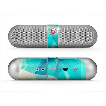 The Vector Abstract Shaped Blue Overlay V2 Skin for the Beats by Dre Pill Bluetooth Speaker