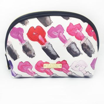 Rainbow Lips and Lipstick Saffiano Small Dome Cosmetic Bag