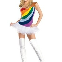 Amour- Sexy Rainbow Rave Party Costume Dress Halloween Dancewear Fancy Party