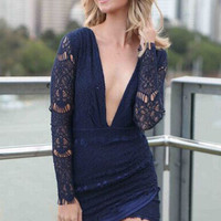 Plunging Neckline Mazarine Lace Mini Dress in Full Sleeve