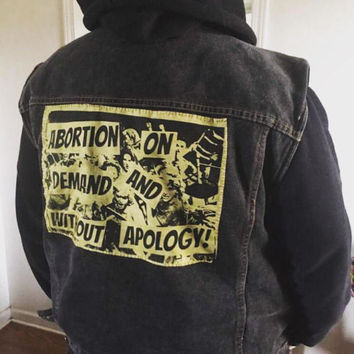Large olive back patch 'abortion on demand and without apology' prochoice feminist patch. 20% of sales go to national abortion fund