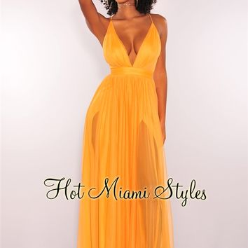 Apricot CrissCross Back Mesh Maxi Dress