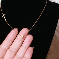 Sideways Cross With An Initial Necklace, Gold Filled Chain Necklace, Off Center Cross Necklace, Gold Initial With Sideways Cross