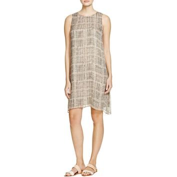 Eileen Fisher Womens Petites Silk Graphic Tunic Dress