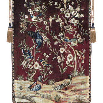 Wild Birds and Flowers Tapestry Wall Art