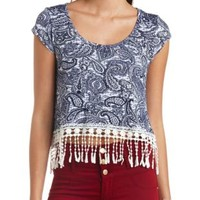 Paisley Print Crochet Fringe Crop Top by Charlotte Russe - Navy Combo
