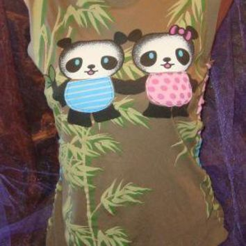 Boy and Girl Panda Pair on Bamboo Background by simplewisdom