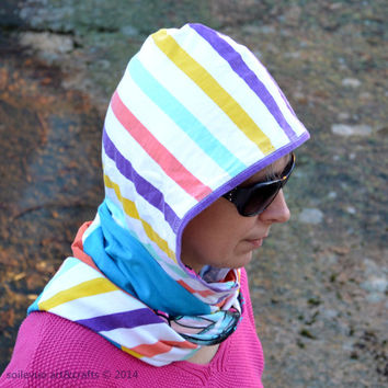 Reversible multicolor hood scarf Cotton jersey hood and long scarf Turquoise orange stripes Floral pattern Recycled materials