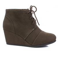 Rex Deep Taupe By Soda, lace up oxford ankle bootie round toe high hidden wedge heel women's shoe