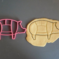 Pig cuts cookie cutter, cuts like the butcher does, 3D printed