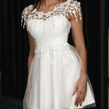 New White Patchwork Lace Off Shoulder Grenadine Tutu Homecoming Party Mini Dress