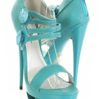 Teal Textured Faux Leather Strappy Open Toe Carved Platform Heels @ Amiclubwear Heel Shoes online store sales:Stiletto Heel Shoes,High Heel Pumps,Womens High Heel Shoes,Prom Shoes,Summer Shoes,Spring Shoes,Spool Heel,Womens Dress Shoes,Prom Heels,Prom Pum