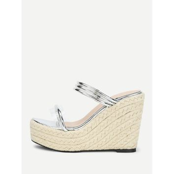 Clear Detail Woven Wedge Sandals