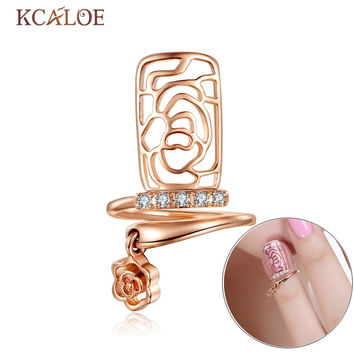 KCALOE Rose Nail Rings For Women Crystal Hollow Flower Silver Plated And Rose Gold Rose Pendant Resizable Punk Finger Nail Ring