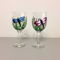 Wine Glasses Set of Two Hand Painted with Dragonflies