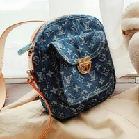 LV Louis Vuitton Fashionable Women Chic Cowboy Shoulder Bag Crossbody Satchel Blue