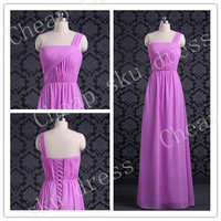 2014 Style Strapless A-line Lace-up Chiffon Bridesmaid /Party / Evening /Prom / Formal Dress Custom Made New Design Sweetheart Sexy Dresses