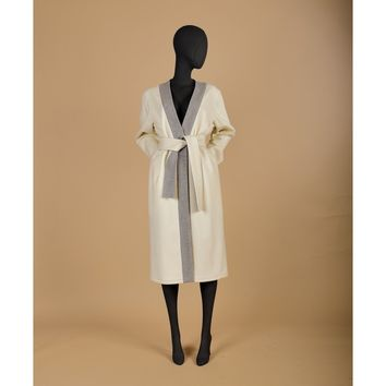 White Wrap Wool Coat