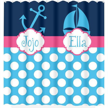 Nautical SHOWER CURTAIN Anchor Sailboat Custom Monogram Personalized Shared Brother Sister Bathroom Beach Towel Plush Bath Mat Made in Usa