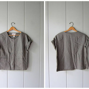 Sage Green LINEN & RAYON Blouse 90s Button Up Shirt Minimal Short Sleeve Top Modern Casual Boxy Tee Vintage Womens Medium