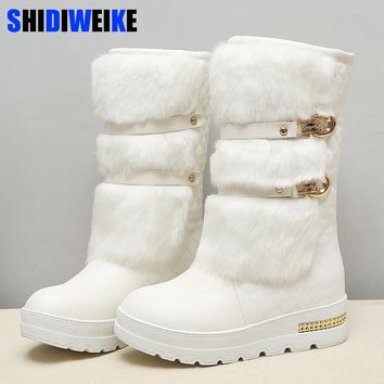 Promotion large size 34-43 Women Winter Boots Fashion Hidden Wedges Warm Fur Shoes Woman Platform Med-calf Snow Boots N164