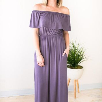 Feel The Breeze Off Shoulder Maxi Dress