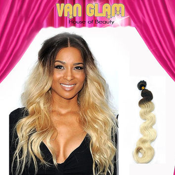 "Ciara Inspired Ombre, Clip In, Hair Extensions, 22"", Double Drawn, Wavy, Ready To Ship"
