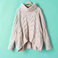 Solid Color Big Cable Irregular Hollow Sweater
