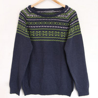 Retro Geometric Knit Long Sleeve Pullover Sweater