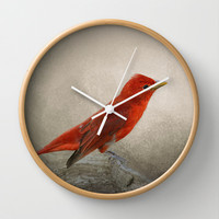 Song of the Summer Tanager 2 - Birds Wall Clock by Jai Johnson