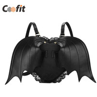 Coofit Bat Heart Backpack Wing Gothic Goth Punk Lace Lolita Visual Kei Bag