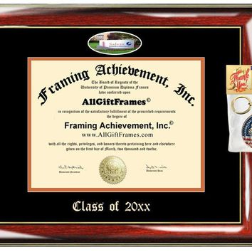 AllGiftFrames Custom Diploma Frame Embossed College Best Graduation Degree Frame Double Mat Campus Fisheye Picture Frame Cheap Degree Certificate Graduate Gift