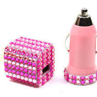 Glamour Pretty in Pink Phone Charger Wall Adapter & Car Charger for iPhone and Android