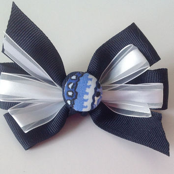 Blue & White Collar Bow for Female Dog & Cat Collar Bow